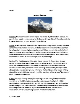 Mount Everest - Lesson Article Review Questions Vocabulary
