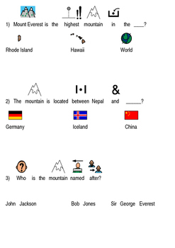 Mount Everest Picture supported text lesson article questions facts