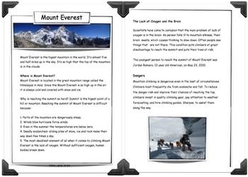 Mount Everest - Reading