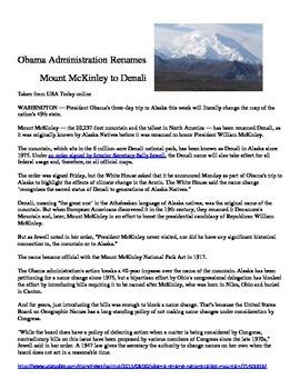 Mount McKinley to Mount Denali (Argument Analysis and Argumentative Writing)