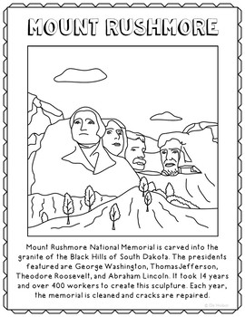 Mount Rushmore Informational Text Coloring Page Craft or Poster, Geography