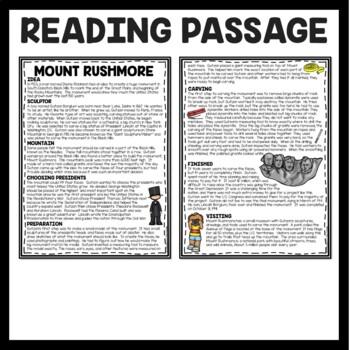 Mount Rushmore Reading Comprehension; American Landmark Black Hills South Dakota