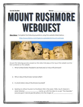 Mount Rushmore - Webquest with Key