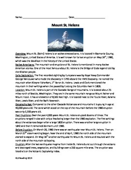 Mount St. Helens Review Article 20 questions timeline word search