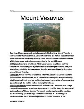 Mount Vesuvius - Informational Article Facts Lesson Questions Pompeii Eruption