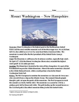 Mount Washington New Hampshire - lesson facts article questions word search
