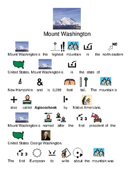 Mount Washington - picture supported text review lesson visuals questions