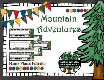 Mountain Adventures Editable Name Plates