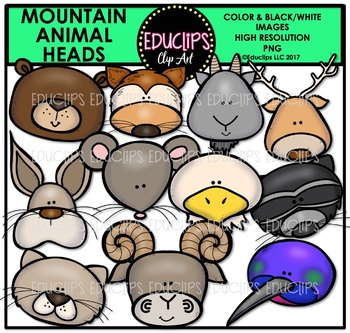 Mountain Animal Heads Clip Art Bundle {Educlips Clipart}