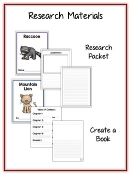 Mountain Animal Research Project - 12 Types, Vocab Cards, Packet, Book & More