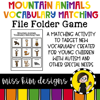 Mountain Animal Vocabulary Folder Game for students with Autism