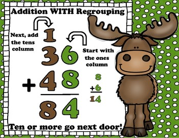 Woodland Mountain  2 Digit Addition Regrouping Task Cards