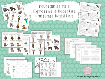 Mountain Animals Bundle - Receptive/Expressive Lang, Articulation & More!