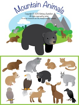Mountain Animals Children's Clipart