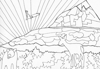 Year End Mountain Animals Coloring Sheet