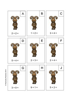 Mountain Animals Math the Room - Addition