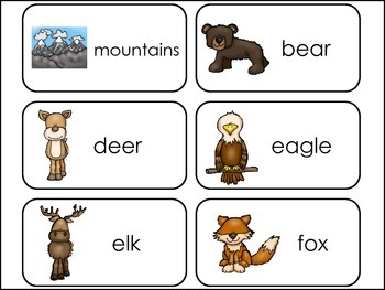Mountain Animals Picture Word Flash Cards.