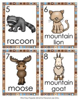 Mountain Animals Write the Room Activity