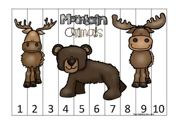 Mountain Animals themed 1-10 Number Sequence Puzzle Game. Printable Preschool