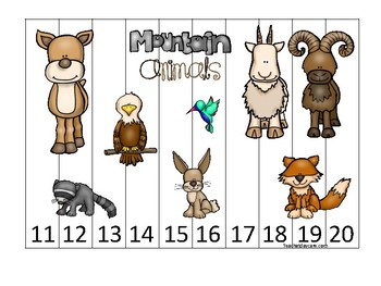 Mountain Animals themed 11-20 Number Sequence Puzzle Game. Printable Preschool