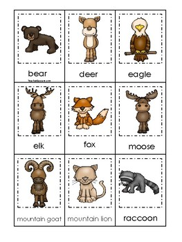 picture relating to Animal Matching Game Printable titled Mountain Pets themed 3 Portion Matching Recreation. Printable Preschool Match