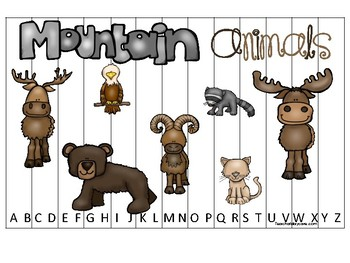 Mountain Animals themed Alphabet Sequence Puzzle Game.  Printable Preschool Game