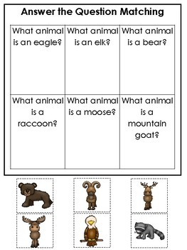 Mountain Animals themed Answer the Question Game.  Printable Preschool Game