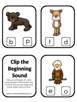 Mountain Animals themed Beginning Sounds Clip It Game.  Printable Preschool Game