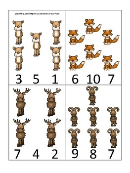 Mountain Animals themed Count and Clip Game.  Printable Preschool Game