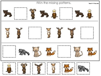 Mountain Animals themed Fill In the Missing Pattern Game. Printable Preschool Ga
