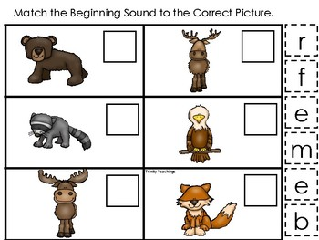 Mountain Animals themed Match the Beginning Sound Game. Printable Preschool Ga