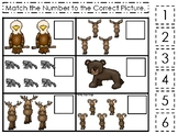 Mountain Animals themed Match the Number Game. Printable Preschool Ga