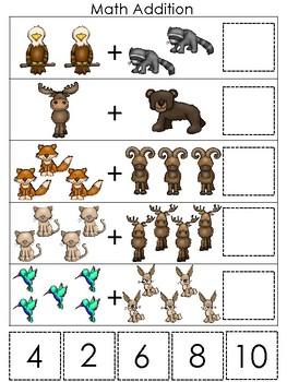 Mountain Animals themed Math Addition Game. Printable Preschool Ga