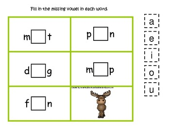 Mountain Animals themed Moose CVC Game.  Printable Preschool Game