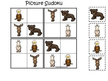 Mountain Animals themed Picture Sudoku Game. Printable Preschool Game