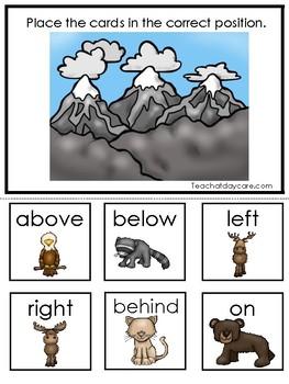 Mountain Animals themed Positional Game. Printable Preschool Game