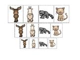 Mountain Animals themed Size Sorting. Printable Preschool Game
