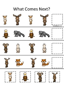Mountain Animals themed What Comes Next. Printable Preschool Game
