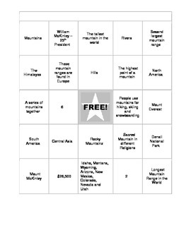 Mountain Bingo - Study Guide