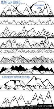 Mountain Border ClipArt, Line Art