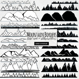 Mountain Border ClipArt, Line Art, Achieve, Believe, Climb Higher Theme