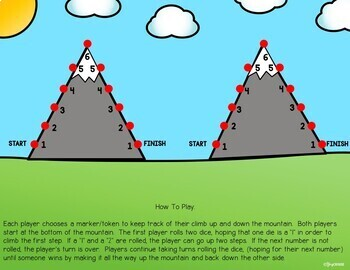 Mountain Climb Dice Game: Open-ended game for Reinforcement