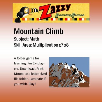 Mountain Climb Folder Game Multiplication x7 x8