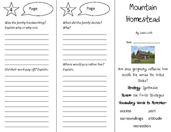 Mountain Homestead Trifold - 4th Grade Literacy by Design Theme 6