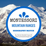 Montessori Geography 3 Part Cards - Mountain Ranges