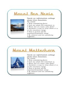 Mountain Research/ Challenge Cards