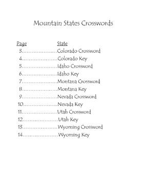 Mountain States Crossword Puzzles