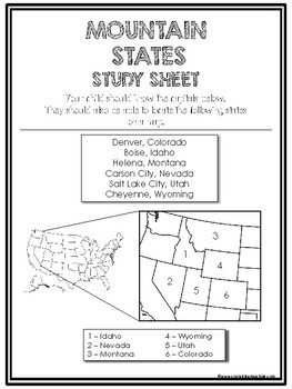 Mountain States Region Review Sheets and Quiz