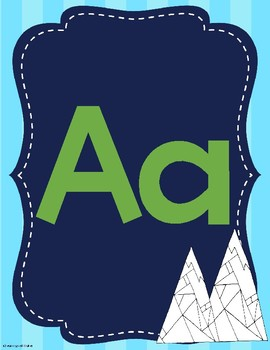 Mountain Themed Navy Blue Alphabet Posters