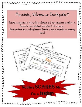 Mountain, Volcano, or Earthquake Coloring Worksheet